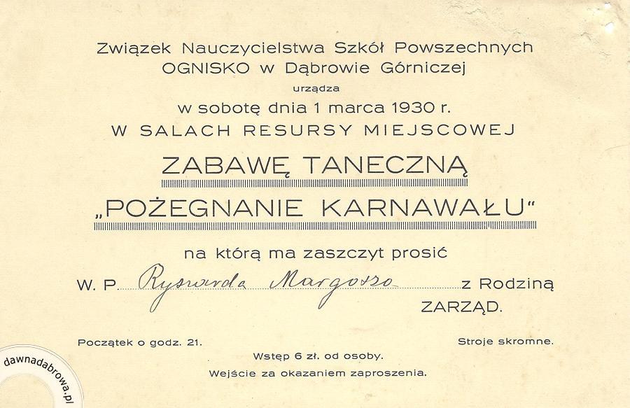 Zaproszenie Na Bal Karnawałowy W Resursie Dawna Dąbrowa